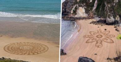 Magnificos dibujos creados en la arena de la playa